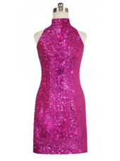 Short Chinese Collar Handmade 8mm Cupped Sequin Dress in Metallic Fuchsia back view