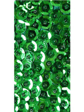 Short Handmade 8mm Cupped Sequin Dress in Metallic Emerald Green close up view