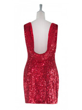 Short Cowl-back Handmade 8mm Cupped Sequin Dress in Metallic Dark Red back view