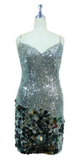 Short Handmade 8mm Cupped Sequin Dress in Metallic Silver with Paillette Sequin Silver front view