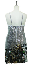 Short Handmade 8mm Cupped Sequin Dress in Metallic Silver with Paillette Sequin Silver  back view