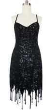 Short Handmade 8mm Cupped Sequin Dress in Black with Jagged Beaded Hemline front view