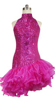 Short Handmade 8mm Cupped Sequin Dress in Metallic Fuchsia with Organza Ruffled Hemline and Chinese Collar Cut back view