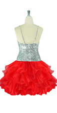 Short Handmade 8mm Cupped Sequin Dress in Metallic Silver with Red Organza Ruffled Hemline back view
