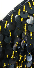 Short Handmade 20mm Paillette Hanging Black Sequin Dress with Gold Beads and Jagged, Beaded Hemline close up view