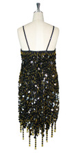 Short Handmade 20mm Paillette Hanging Black Sequin Dress with Gold Beads and Jagged, Beaded Hemline back view
