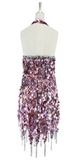 Short handmade sequin dress, in metallic striated fuchsia paillette sequins with silver faceted beads, a luxe grey fabric background, halter-neck and a jagged, beaded hemline back view