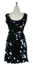 Short Handmade 30mm Paillette Hanging Black Sequin Sleeveless Dress with U Neck back