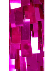 Short Handmade Rectangular Paillette Hanging Metallic Fuchsia Sequin Dress with One-sleeve Cut close up view