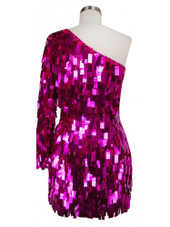 Short Handmade Rectangular Paillette Hanging Metallic Fuchsia Sequin Dress with One-sleeve Cut back view