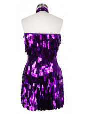 Short Handmade Rectangular Paillette Hanging Metallic Purple Sequin Dress with Chinese Collar and Keyhole Cut back view
