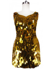Short Handmade Rectangular Paillette Hanging Metallic Gold Sequin Dress with Sweetheart Neckline front view