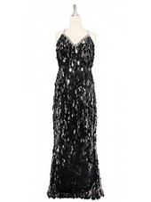 A long handmade sequin dress, in unique tear-drop shape black paillette sequins with silver faceted beads and a luxe grey fabric background in a classic cut front view
