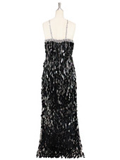 A long handmade sequin dress, in unique tear-drop shape black paillette sequins with silver faceted beads and a luxe grey fabric background in a classic cut back view