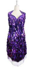 Short IN STOCK Handmade Purple Sequin Dress- US 14 / UK 16 / EUR 46 (Measurements are shown as inches) BUST: 42 WAIST: 30 HIPS: 44 G: 22 (mid top of shoulder to waist) SL1 Length: 16 SL2 Length: 21