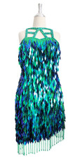 Short IN STOCK Handmade Turquoise Sequin Dress- US 14 / UK 16 / EUR 46 (Measurements are shown as inches) BUST: 42 WAIST: 30 HIPS: 44 G: 22 (mid top of shoulder to waist) SL1 Length: 16 SL2 Length: 21