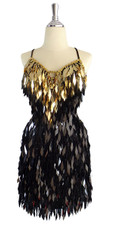 Short IN STOCK Handmade Dress In Gold & Black - US 06 / UK 08 / EUR 38 (Measurements are shown as inches) BUST: 36 WAIST: 29 HIPS: 39 G: 16.5 (mid top of shoulder to waist) SL1 Length: 17