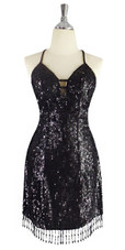 Short IN STOCK Handmade Dress In Black With Beaded Hemline - US 06 / UK 08 / EUR 38 (Measurements are shown as inches) BUST: 36 WAIST: 29 HIPS: 39 G: 16.5 (mid top of shoulder to waist) SL1 Length: 17