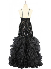 A long handmade sequin dress, in diamond-shaped black paillette sequins and black organza ruffles with spangles from SequinQueen back view.