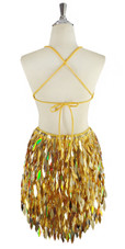 Short IN STOCK Handmade Gold Sequin & Faceted Silver Beads Dress - US 08 / UK 10 / EUR 40 (Measurements are shown as inches) BUST: 37 WAIST: 30 HIPS: 40 G: 17 (mid top of shoulder to waist) SL1 Length: 12