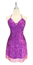Short IN STOCK Handmade Hologram Purple Sequin Dress - US 06 / UK 08 / EUR 38 (Measurements are shown as inches) BUST: 36 WAIST: 29 HIPS: 39 G: 16.5 (mid top of shoulder to waist) SL1 Length: 17
