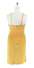 Short IN STOCK Handmade Gold Sequin Dress- US 12 / UK 14 / EUR 44 (Measurements are shown as inches) BUST: 39 WAIST: 30 HIPS: 42 G: 18 (mid top of shoulder to waist) SL1 Length: 22