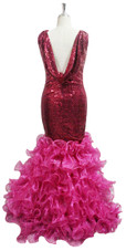 Long IN STOCK Sequin Fabric Red Dress With A Cowl Back & Ruffles - US 08 / UK 10 / EUR 40 (Measurements are shown as inches) BUST: 37 WAIST: 30 HIPS: 40 G: 18 (mid top of shoulder to waist) H Length: 64