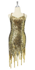 In-Stock Short Gold Baroque Sequin Fabric Dress With Jagged Beaded Hemline (S2020-0001)  SIZE: US 14 / UK 16 / EUR 46 (Measurements are shown as inches) BUST: 41 WAIST: 34 HIPS: 44 G: 20 (mid top of shoulder to waist) SL1 Length: 13+5 SL2 Length: 18+5