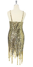 In-Stock Short Gold Baroque Sequin Fabric Dress With Jagged Beaded Hemline (S2020-0002) SIZE: US 16 / UK 18 / EUR 48 (Measurements are shown as inches) BUST: 45 WAIST: 38 HIPS: 48 G: 20 (mid top of shoulder to waist) SL1 Length: 14+5 SL2 Length: 19+5