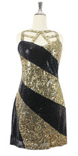 In-Stock Short Gold and Black Baroque Sequin Fabric Dress (S2020-0005)  SIZE: US 18 / UK 20 / EUR 50 (Measurements are shown as inches) BUST: 45 WAIST: 38 HIPS: 48 G: 20 (mid top of shoulder to waist) SL1 Length: 20