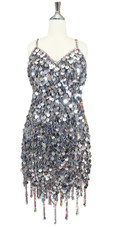 In-Stock Handmade Silver Sequin Short Dress with Jagged Beaded Hemline (S2020-0015)  SIZE: US 10 / UK 12 / EUR 42 (Measurements are shown as inches) BUST: 38 WAIST: 31 HIPS: 41 G: 19 (mid top of shoulder to waist) SL1 Length: 14+5 SL2: Length 17+5