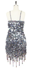 In-Stock Handmade Silver Sequin Short Dress with Jagged Beaded Hemline (S2020-0015) SIZE: US 10 / UK 12 / EUR 42 BUST: 38 WAIST: 31 HIPS: 41 G: 19 (mid top of shoulder to waist) SL1 Length: 14+5 SL2: Length 17+5