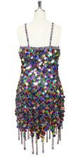 In-Stock Handmade Multi-Colour Sequin Short Dress with Jagged Beaded Hemline (S2020-0018) SIZE: US 10 / UK 12 / EUR 42 BUST: 38 WAIST: 31 HIPS: 41 G: 19 (mid top of shoulder to waist) SL1 Length: 14+5 SL2: Length 17+5