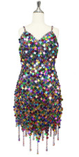 In-Stock Handmade Multi-Colour Sequin Short Dress with Jagged Beaded Hemline (S2020-0018)  SIZE: US 10 / UK 12 / EUR 42 (Measurements are shown as inches) BUST: 38 WAIST: 31 HIPS: 41 G: 19 (mid top of shoulder to waist) SL1 Length: 14+5 SL2: Length 17+5
