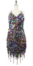 In-Stock Handmade Multi-Colour Sequin Short Dress with Jagged Beaded Hemline (S2020-0019)  SIZE: US 12 / UK 14 / EUR 44 (Measurements are shown as inches) BUST: 39 WAIST: 32 HIPS: 42 G: 19 (mid top of shoulder to waist) SL1 Length: 14+5 SL2: Length 18+5