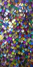 In-Stock Handmade Multi-Colour Sequin Short Dress with Jagged Beaded Hemline (S2020-0019) SIZE: US 12 / UK 14 / EUR 44 BUST: 39 WAIST: 32 HIPS: 42 G: 19 (mid top of shoulder to waist) SL1 Length: 14+5 SL2: Length 18+5