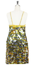 In-Stock Handmade Gold & Silver Jumbo Sequin Short Dress (S2020-0021) SIZE: US 18 / UK 20 / EUR 50 (Measurements are shown as inches) BUST: 45 WAIST: 38 HIPS: 48 G: 20 (mid top of shoulder to waist) SL1 Length: 20