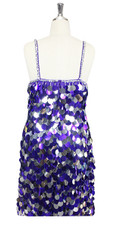 In-Stock Handmade Purple & Silver Jumbo Sequin Short Dress (S2020-0022) SIZE: US 22 / UK 24 / EUR 54 (Measurements are shown as inches) BUST: 49 WAIST: 42 HIPS: 52 G: 22 (mid top of shoulder to waist) SL1 Length: 21