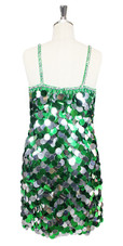 In-Stock Handmade Green & Silver Jumbo Sequin Short Dress (S2020-0024) SIZE: US 18 / UK 20 / EUR 50 (Measurements are shown as inches) BUST: 45 WAIST: 38 HIPS: 48 G: 20 (mid top of shoulder to waist) SL1 Length: 20