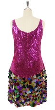 In-Stock Short Fuschia Sequin Fabric Dress With Multi-Color Hologram sequins Skirt (S2020-0026) SIZE: US 20 / UK 22 / EUR 52 BUST: 47 WAIST: 40 HIPS: 50 G: 22 (mid top of shoulder to waist) SL1 Length: 22