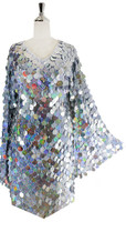 In-Stock Short Handmade Silver Hologram Sequin Dress with Sleeves (S2020-0027)  SIZE: US 28 / UK 30 / EUR 60 (Measurements are shown as inches) BUST: 55 WAIST: 48 HIPS: 58 G: 22 (mid top of shoulder to waist) SL1 Length: 18 SL2 Length: 23 Sleeves Length: 26