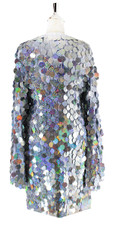 In-Stock Short Handmade Silver Hologram Sequin Dress with Sleeves (S2020-0027) SIZE: US 28 / UK 30 / EUR 60 BUST: 55 WAIST: 48 HIPS: 58 G: 22 (mid top of shoulder to waist) SL1 Length: 18 SL2 Length: 23 Sleeves Length: 26