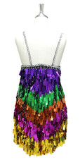 In-Stock Short Handmade Multicolored Rainbow Pattern Paillette Sequin Dress (S2020-0035) SIZE: US 20 / UK 22 / EUR 52 (Measurements are shown as inches) BUST: 47 WAIST: 40 HIPS: 50 G: 22 (mid top of shoulder to waist) SL1 Length: 15 SL2 Length: 20