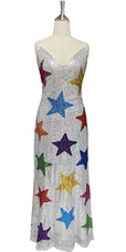 In-Stock Long Silver Sequins Dress with Multi Colour Stars (L2020-0004)  SIZE: US 18 / UK 20 / EUR 50 (Measurements are shown as inches) BUST: 45 WAIST: 38 HIPS: 48 G: 20 (mid top of shoulder to waist) H Length: 63