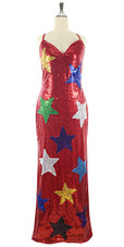 In-Stock Long Red Sequins Dress with Multi Colour Stars (L2020-0005)  SIZE: US 14 / UK 16 / EUR 46 (Measurements are shown as inches) BUST: 43 WAIST: 36 HIPS: 46 G: 20 (mid top of shoulder to waist) H Length: 63