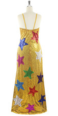 In-Stock Long Gold Sequins Dress with Multi Colour Stars (L2020-0006) SIZE: US 16 / UK 18 / EUR 48 (Measurements are shown as inches) BUST: 43 WAIST: 36 HIPS: 46 G: 20 (mid top of shoulder to waist) H Length: 63