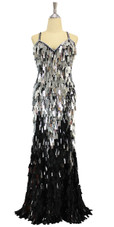 In-Stock Long Handmade Black and Silver Sequin Gown (L2020-0012)  SIZE: US 16 / UK 18 / EUR 48 (Measurements are shown as inches) BUST: 43 WAIST: 36 HIPS: 46 G: 20 (mid top of shoulder to waist) H Length: 62 Slit - From waist to the point where the slit began: 25