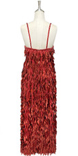 In-Stock Long Handmade Red Hanging Sequin Gown (L2020-0013) SIZE: US 16 / UK 18 / EUR 48 (Measurements are shown as inches) BUST: 43 WAIST: 36 HIPS: 46 G: 20 (mid top of shoulder to waist) H Length: 62 Slit: 25