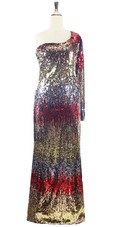 In-Stock Long Multi Color Long Sleeves Sequin Fabric Gown (L2020-0014)  SIZE: US 16 / UK 18 / EUR 48 (Measurements are shown as inches) BUST: 43 WAIST: 36 HIPS: 46 G: 20 (mid top of shoulder to waist) H Length: 63 Sleeves Length: 27