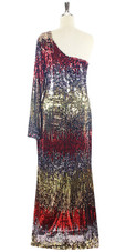 In-Stock Long Multi Color Long Sleeves One Shoulder Sequin Fabric Gown (L2020-0014) SIZE: US 16 / UK 18 / EUR 48 (Measurements are shown as inches) BUST: 43 WAIST: 36 HIPS: 46 G: 20 (mid top of shoulder to waist) H Length: 63 Sleeves Length: 27